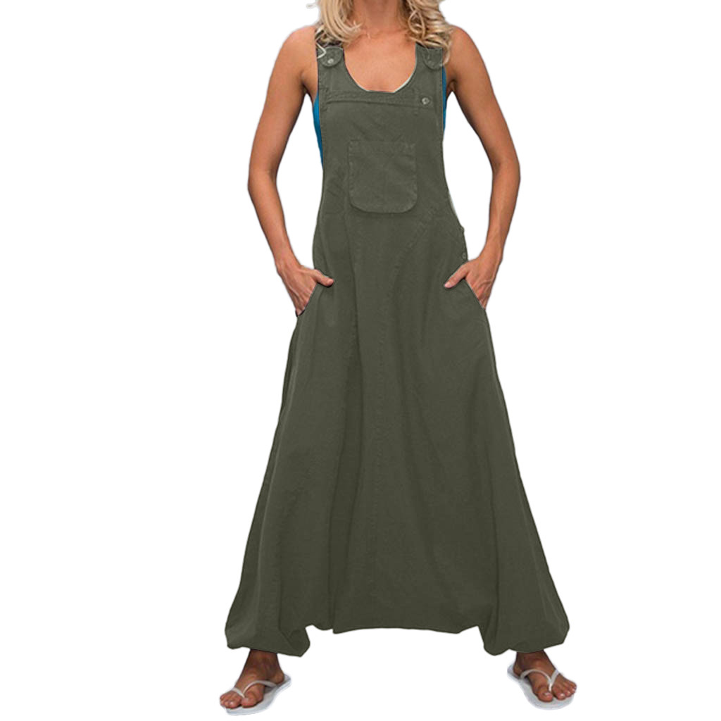 Plus Size Women   Jumpsuits   Overalls U Neck Solid Pure Color Pockets Sleeveless Loose Playsuits Wide legs combinaison pants Mujer