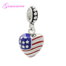 Mother Heart Pendant Charm American Flag Handmade DIY Jewelry Making Accessories Amulet Fit Pandora Bracelet Necklace(China)