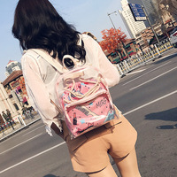 2018 female new waterproof backpack printing transparent plastic girl PVCMother and son's bag ladies space backpackNB027