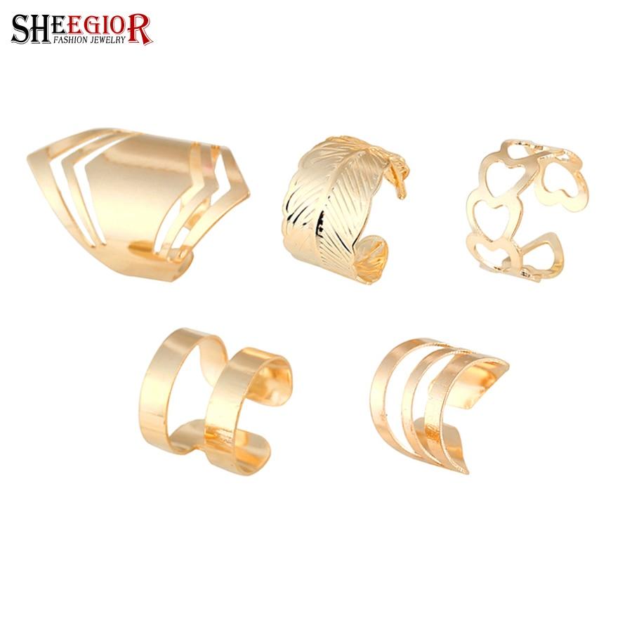 SHEEGIOR Gold-Rings-Set Wedding-Jewelry-Set Gift Heart Fashion Women Love Punk Hollow