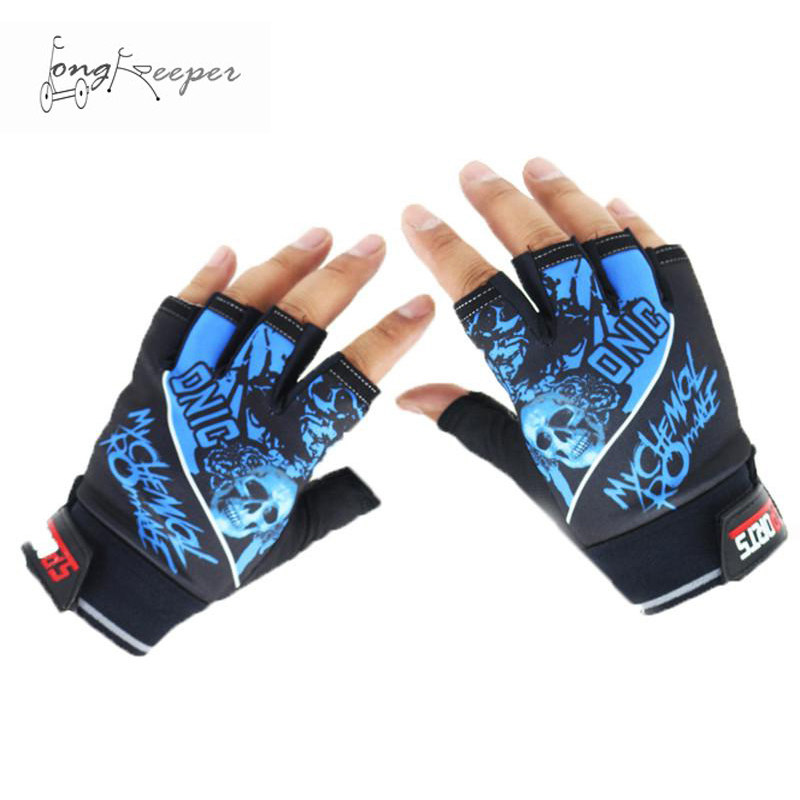 Long Keeper Half Finger Sports Gloves Cool Skull Pattern Gloves Cycling Motorcycle Hiking Fishing Riding Gloves Mittens Guantes