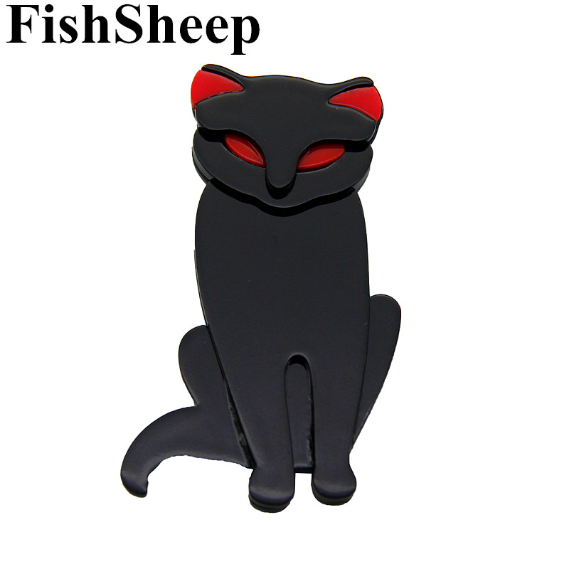 FishSheep Female Acrylic Cat Brooches And Pins Resin Plastic Black Cats Animals Brooch Lapel Pin For Women 2018 Fashion Jewelry цена