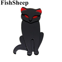 FishSheep Female Acrylic Cat Brooches And Pins Resin Plastic Black Cats Animals Brooch Lapel Pin For Women 2018 Fashion Jewelry fishsheep large women figure acrylic brooches and pins fashion resin girl icon big brooch pins female fashion jewelry accessory