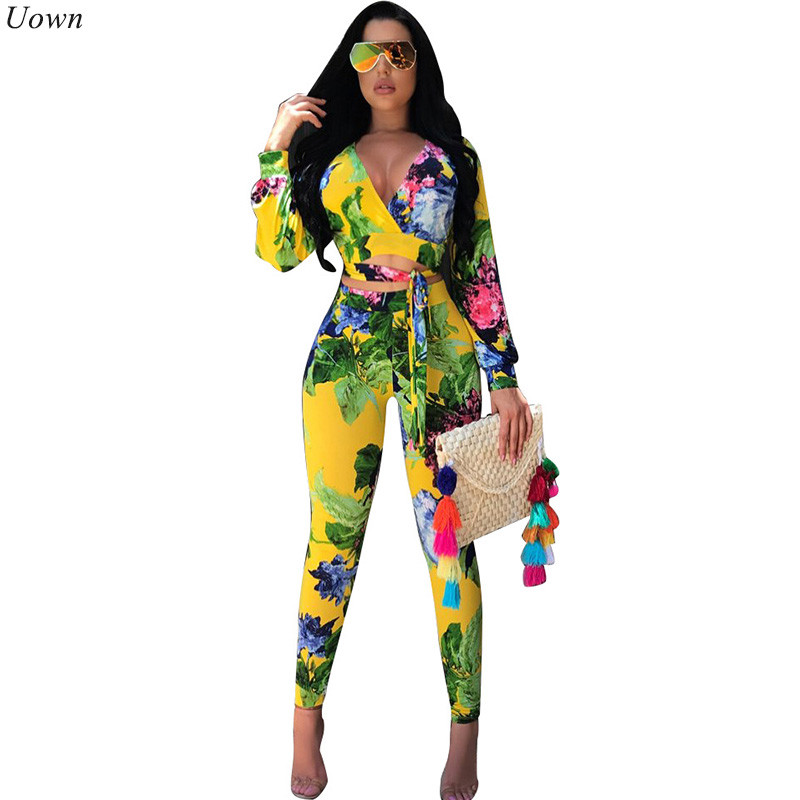 2018 Autumn Floral Print Boho Two Piece Sets Long Sleeve Women Sexy V-Neck Jacket and Pencil Pants Club Wear 2 Piece Outfit