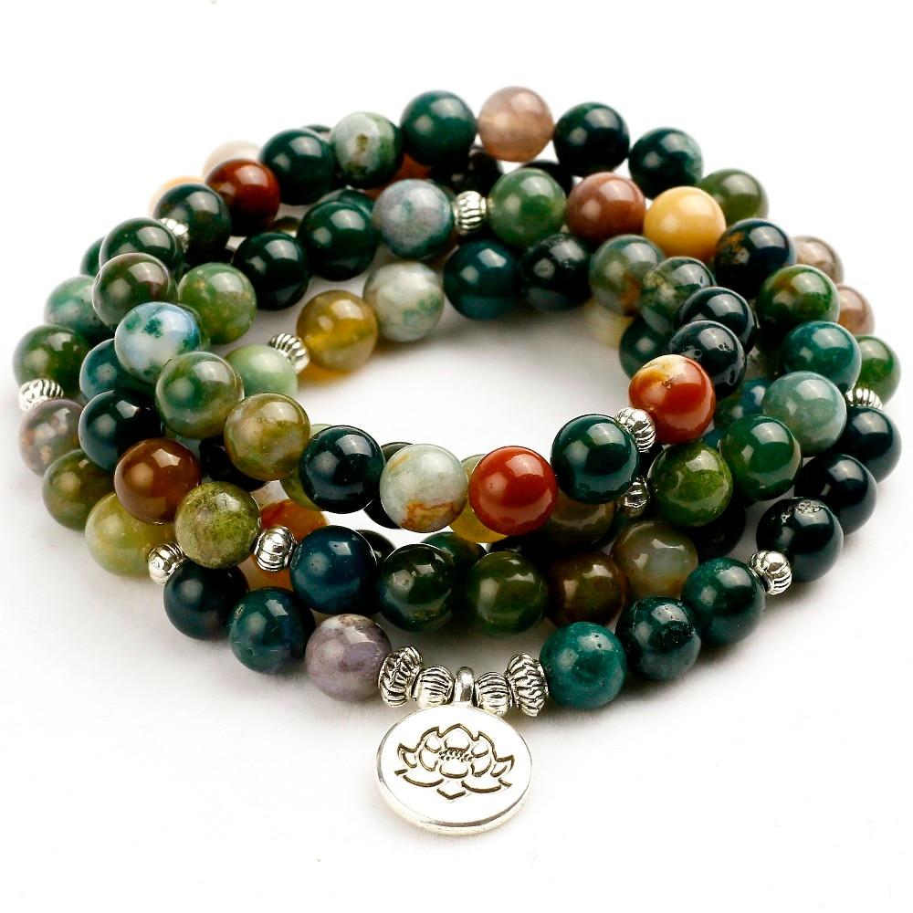 Prayer Necklace Bracelet Buddha Beads Meditation Natural Stone Crystal Jade Gift