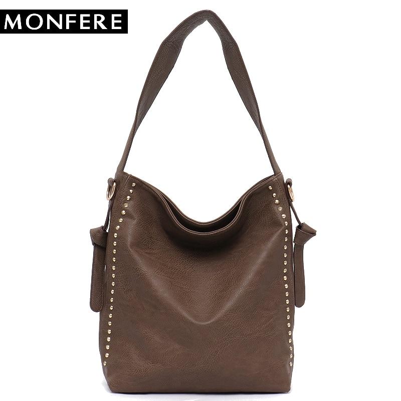 cef716fc770e MONFERE Large Casual Women Hobo Bags female PU leather Fashion Top-handle Shoulder  Bags Rivets Zipper Crossbody Strap handbags