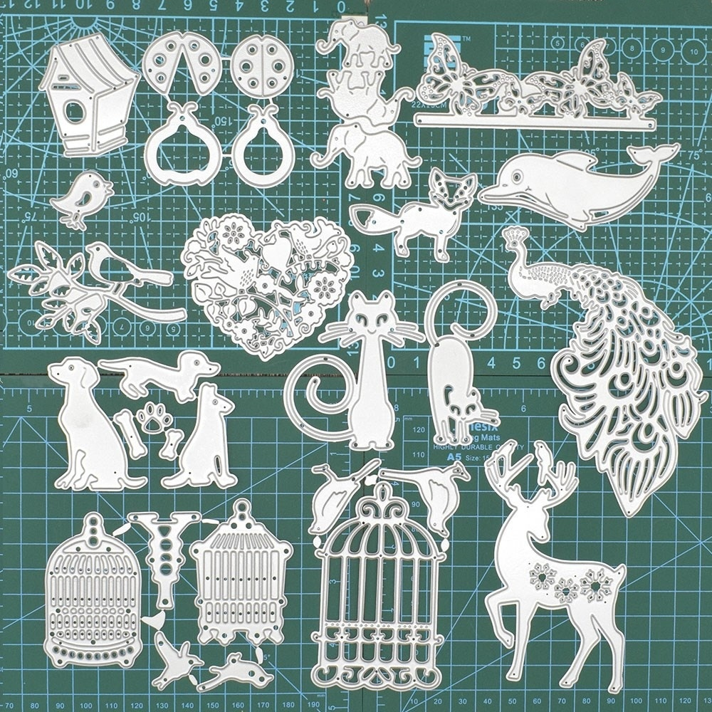 Dog Birds Bear Cat Fish Animal Metal Cutting Dies Embossing Dies For DIY Scrapbooking Album Crad Decorative Paper Craft Die Cut in Cutting Dies from Home Garden