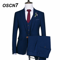 OSCN7 Blue Custom Made Suit Men New Fashion 3 Piece Wedding Tailor Made Suits Plus Size Casual Ternos Masculino