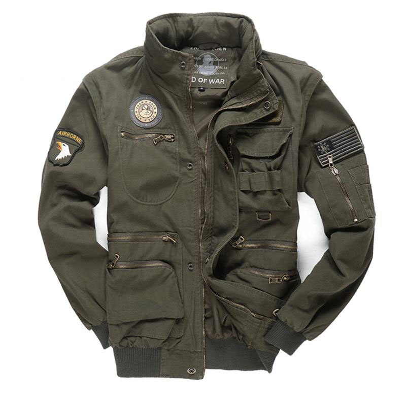 New Military Men's 101 Flight Jacket Removable Sleeve Male Hooded Bomber Jacket Men Multi-pocketed Tooling Jacket Coat 4XL BF657