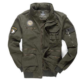 New Military Men's 101 Flight Jacket Removable Sleeve Male Hooded Bomber Jacket Men Multi-pocketed Tooling Jacket Coat 4XL BF657 - DISCOUNT ITEM  46% OFF All Category