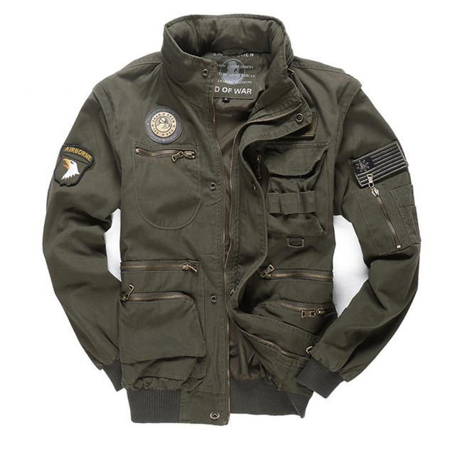 New Military Men's 101 Flight Jackets Removable Sleeve Casual Hooded Men Multi-pocketed Tooling Jacket Coat M~4XL BF657