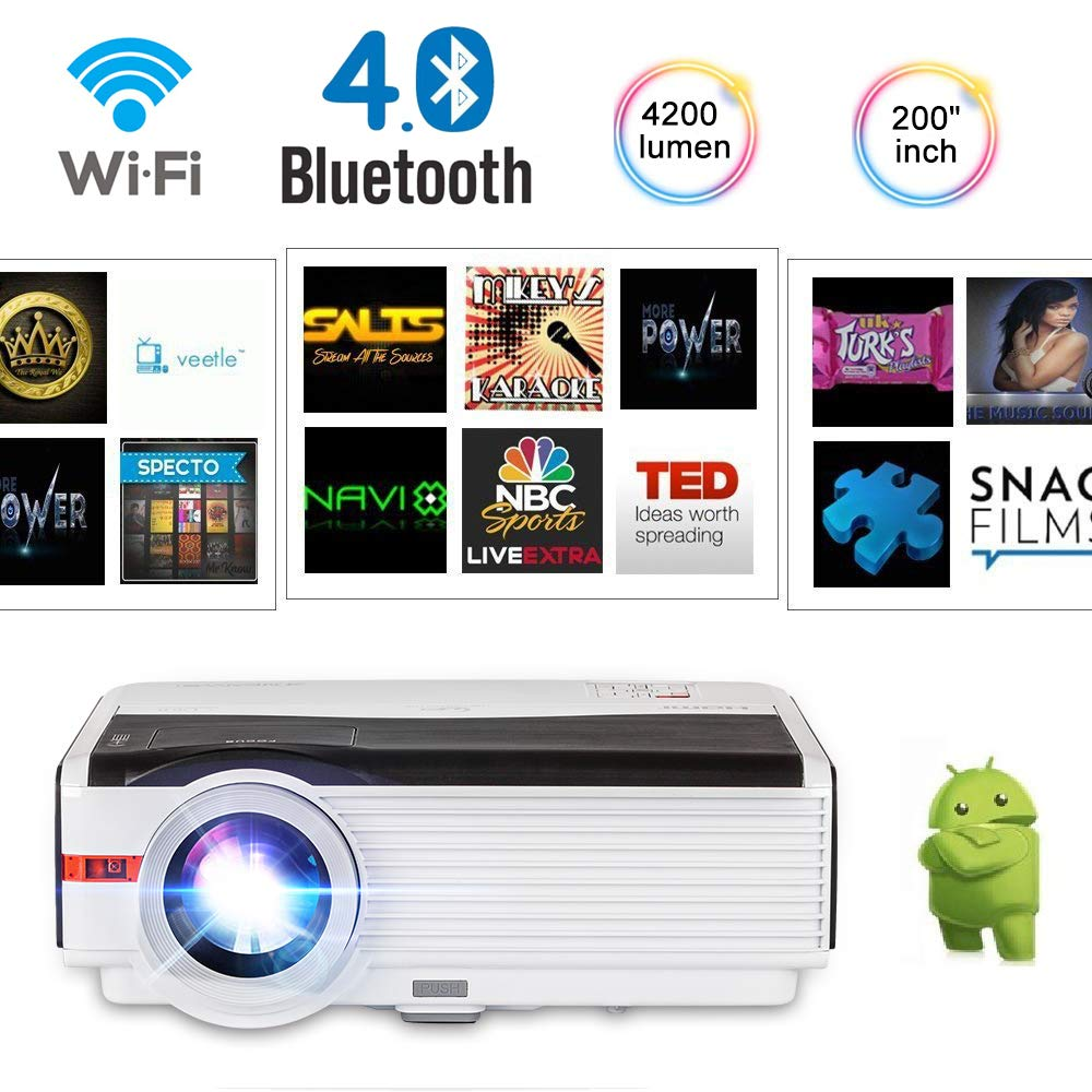 CAIWEI Android 6.0 OS LCD HD Vidéo Projecteur Home Cinéma WIFI Bluetooth LED Beamer Sans Fil Sync Écran 5000 Lumens