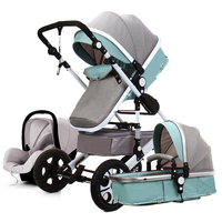 Baby Stroller 3 In 1 with Car Seat High Landscape Folding Baby Cart Can Sit and Lie Four Wheel Stroller in Winter and Summer