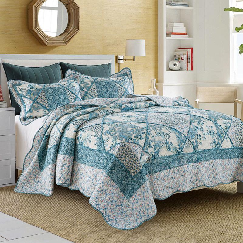 chausub patchwork quilt set unids lavar edredones de algodn acolchado colcha de corea floral impresa