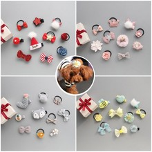 5pcs Dog hair rope +5pcs clips Hair Bows with Full Covered Pet Clips set dog grooming accessories