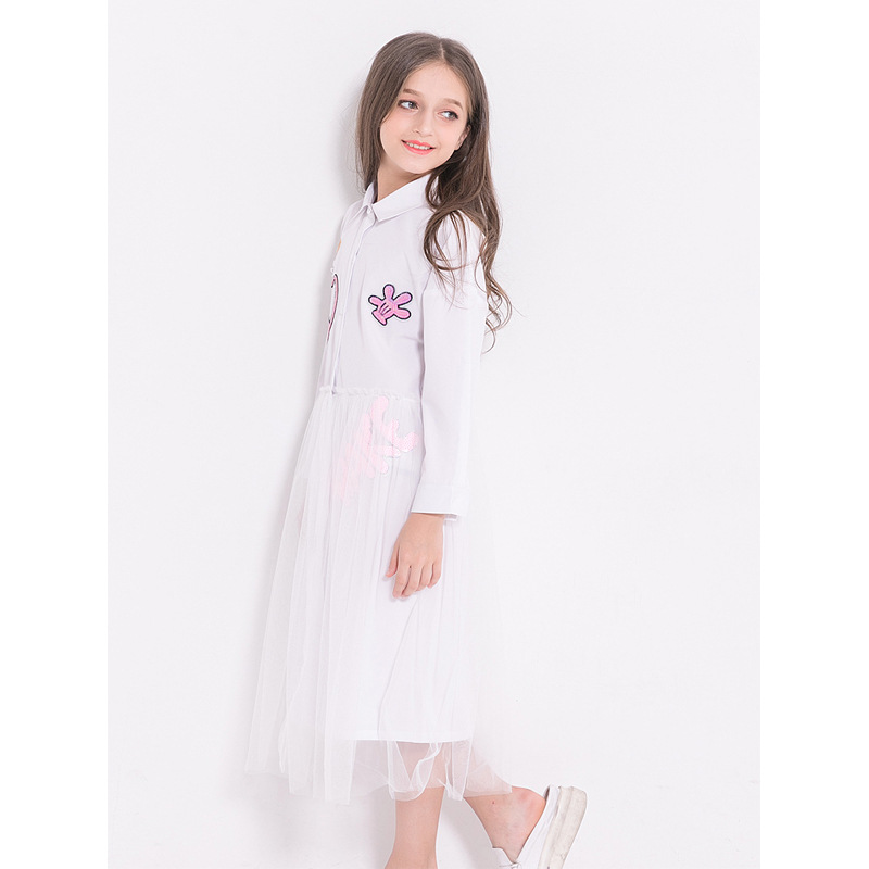 Teenage Dress White Summer Causal Blouse Fashion 2019 Long Sleeve Lace Clothes Spring Autumn Teenager Children Dresses