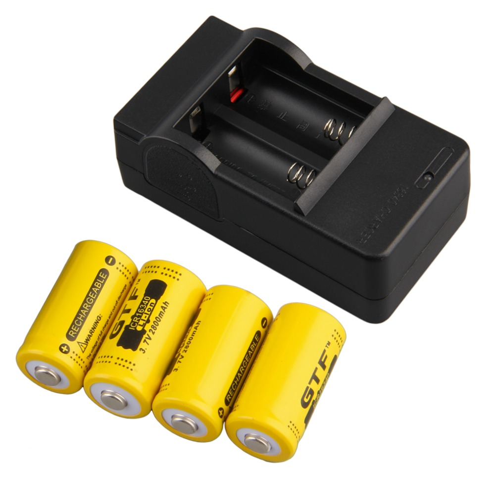 4pcs 16340 3.7V 2800mAh Rechargeable Li-ion Battery + US Plug Charger Color Yellow New 3pcs battery charger 7 4v rechargeable li ion battery for olympus e300 e500 e3 e5 e520 e510