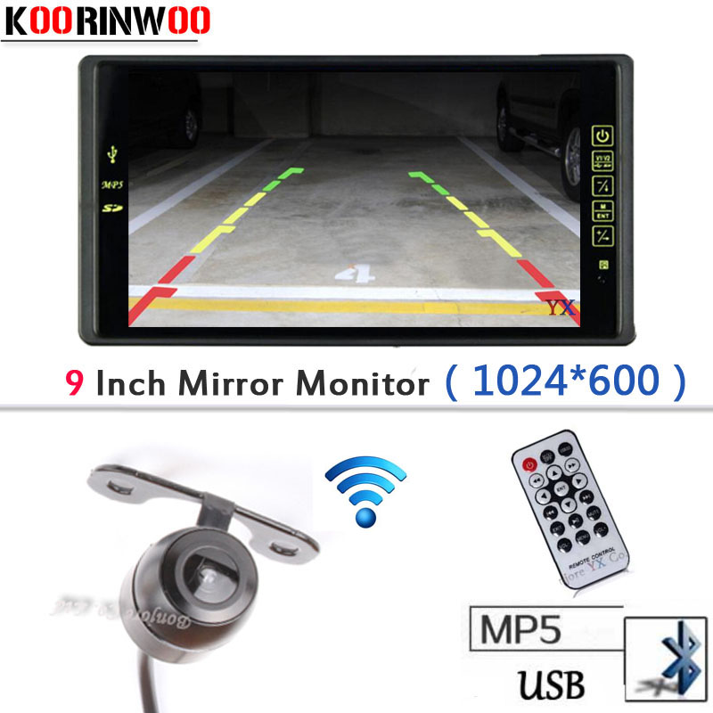 Wireless Adopt 9 LCD-TFT 1024*800 Car Monitor With Bluetooth MP5/MP4 FM USB SD SLOT Video input Parking Car Rear view camera sinairyu 2in1 7 inch car video parking monitor mp4 mp5 car mirror monitor sd usb with rear view camera hands free