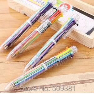 Image 4 - 50 stks/partij Multicolor Balpen, 6 kleuren balpen, leuke balpen gift pen voor kinderen en student.