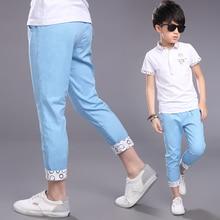 лучшая цена 2019 New Fashion Summer Big Boy Ankle-Length Pants Infant Trousers Teenager Boys Cotton Casual Pants 4 5 7 9 11 13 14 Years old