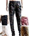 Бесплатная доставка хип-хоп мужчины пу молнии Большой размер брюки черные цветы леопарда брюки камуфляж леопарда кожаные бегунов брюки