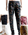 Free Shipping Hip Hop Men PU Zipper Plus Size Pants Black flowers Leopard Trousers Camouflage Leopard leather joggers Pants