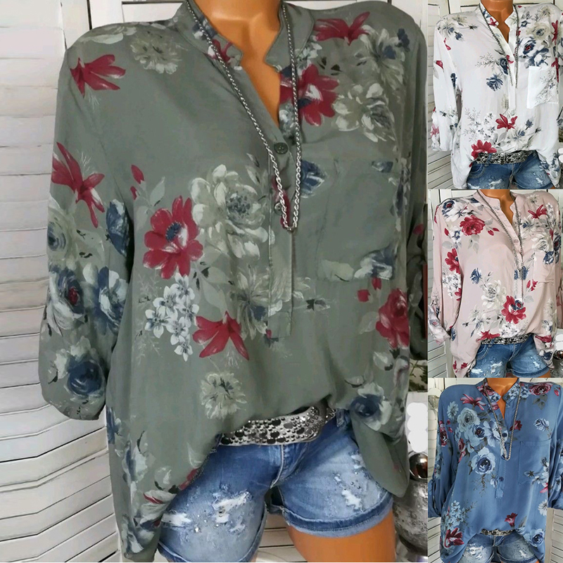 LASPERAL 2018 Women Summer Autumn Long Sleeve V Neck Women Blouse Floral Print Irregular Shirts 5XL Plus Size Women Tops Blouse 5