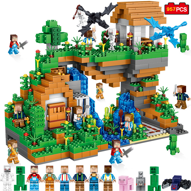 все цены на 957pcs Ancient Castle Adventure Mini Animal Figures Building Blocks Compatible Minecraft Legoe City DIY Bricks Children Toy Gift