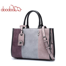 купить DOODOO Women Pu Leather Handbag Female Shoulder Crossbody Bags Ladies Top-handle Bag Tassel Spell Color 2019 Tote Messenger Bags по цене 4676.42 рублей