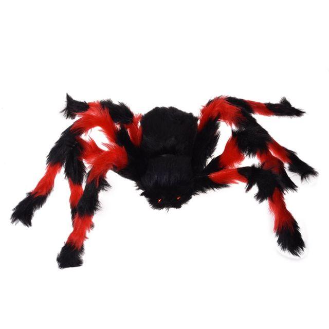 Image Araignée Halloween 75cm grande araignee peluche / decor halloween rouge et noir-in