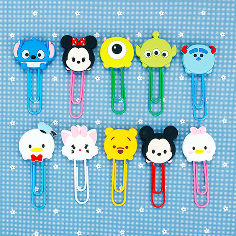 1pcs Cartoon Animation Paper Clip Silicone Material Escolar Bookmarks For Books Stationery School Supplies Papelaria Child Gift
