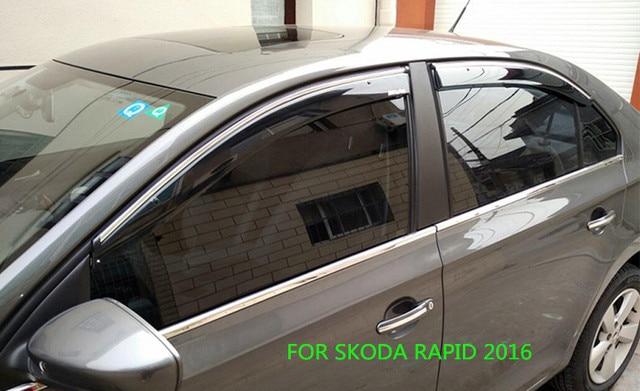 FIT FOR SKODA RAPID 2016 SIDE WINDOW RAIN DEFLECTORS GUARD VISOR WEATHER SHIELDS DOOR SHADOWS ACRYLIC WEATHER SHIELDS