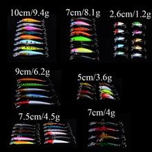 55pcs/lot Fly Minnow Fishing Lure Set China Arduous Bait Lure Wobbler Carp 7 Fashions Fishing Sort out Synthetic Bait wholesale