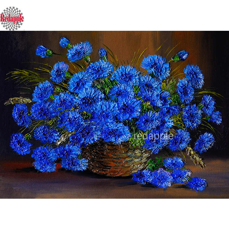 """Germany Blue Cornflower""Diamond Mosaic Full Square round drill Diamond Embroidery Flowers 5d diy Diamond Painting Cross Stitch"