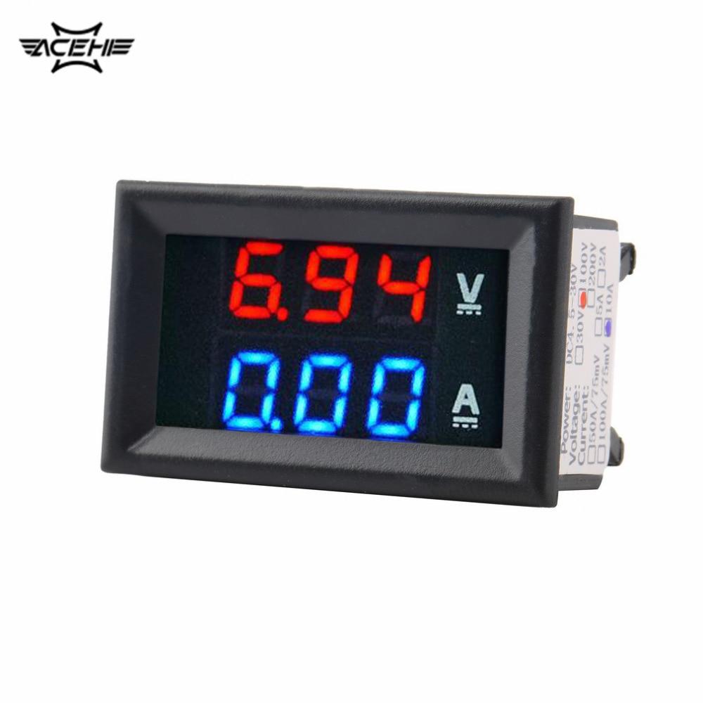ولتاژ سنج ACEHE با کیفیت بالا DC 100V 10A آمپر متر آبی + قرمز قرمز آمپر ولتاژ سنج دیجیتال ولت متر دیجیتال ولتاژ سنج فعلی ابزار استفاده خانگی