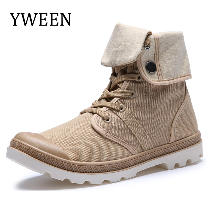 Men Canvas Shoes Spring Autumn Lace up High Style Fashion Trend Casual Shoes denim Ankle Outdoor