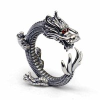 New Arrival Real Solid 925 Sterling Silver Dragon Rings Vintage Men's 925 Thai Silver Rings Men Accessories Jewelry