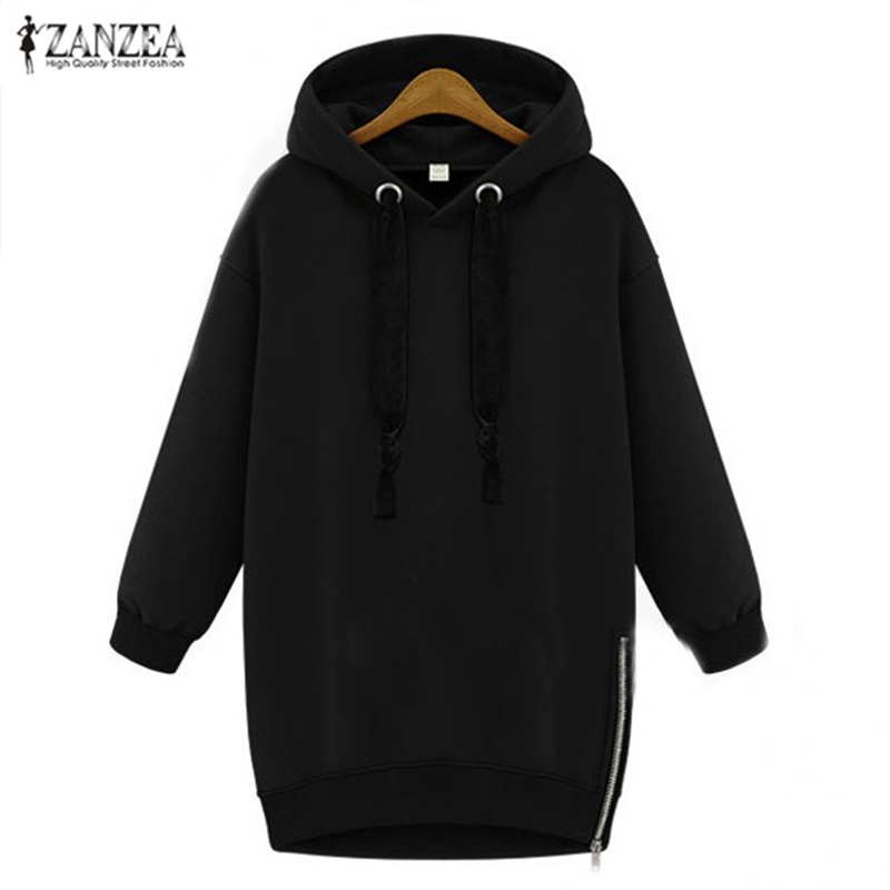 ZANZEA Women Hoodies Sweatshirt 2018 Spring Autumn Pullover Casual Lös Långärmad Fleece Warm Hooded Tops Plus Storlek S-5XL