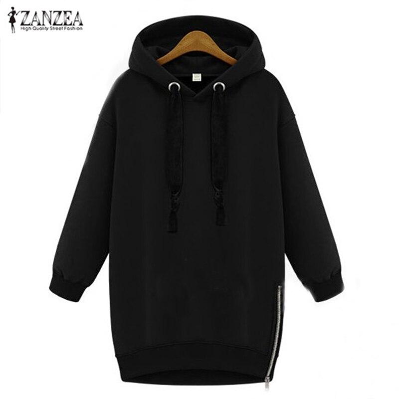 ZANZEA Women Hoodies Sweatshirt 2019 Spring Autumn Pullover Casual Loose Long Sleeve Fleece Warm Hooded Tops Plus Size S-5XL