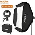 Софтбокс Godox 80*80 см складной 80x80 Flash складной + кронштейн s-типа Bowens держатель + сумка комплект для фотостудии Flash Speedlites