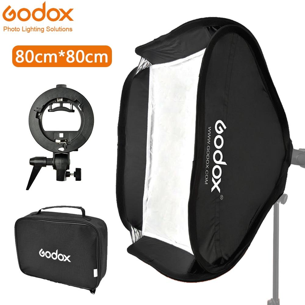 Godox 80*80 Cm Softbox Foldable 80x80 Flash Folding + S-Type Bracket Bowens Holder + Bag Kit For Photo Studio Flash Speedlites