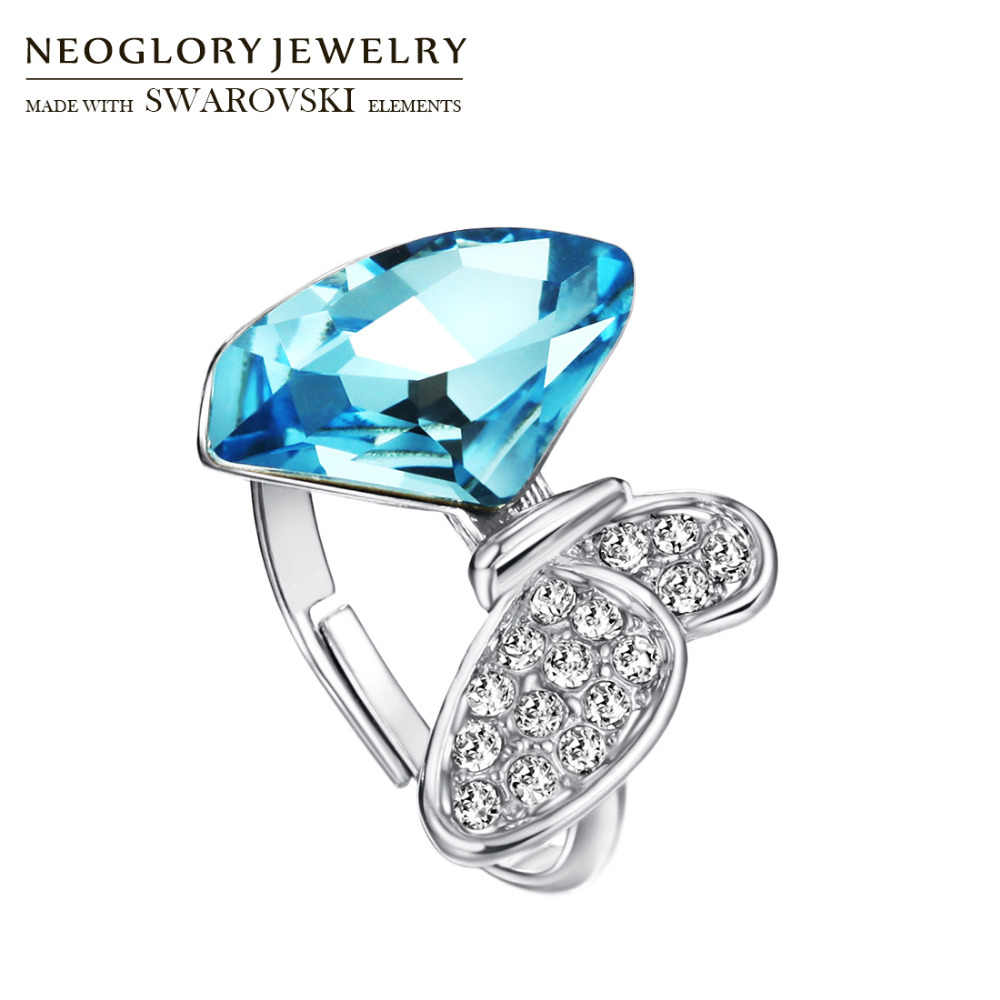 Neoglory Austria Crystal & Rhinestone Adjustable Finger Ring Exquisite Shining Butterfly Design For Classic Lady Gift
