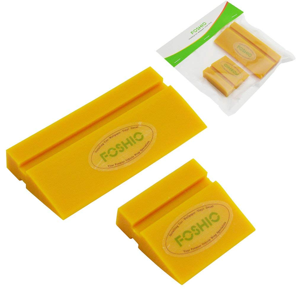 FOSHIO 2pcs Rubber Water Wiper Squeegee Blade Auto Window Tint Vinyl Car Wrap Tool Kitchen Glass House Cleaning Scraper Washer