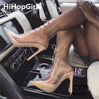 HiHopGirls 2018 New Summer Roman Cross Strap Transparent PVC Pointed Women Pump Sandals Sexy Thin High Heel Women Shoes