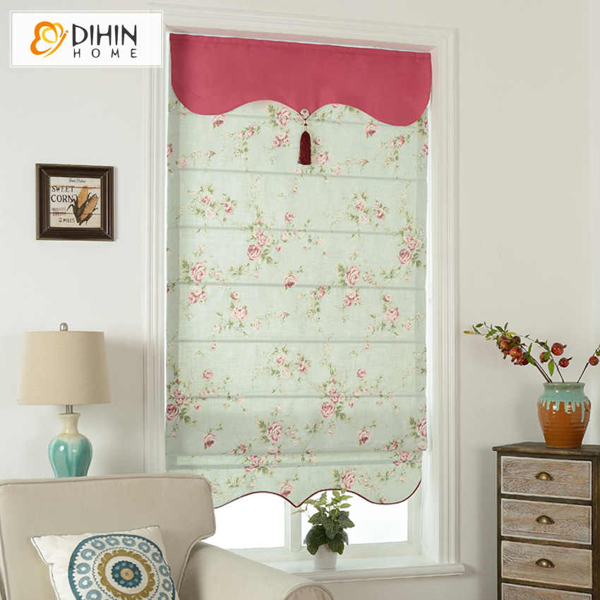 Included Curtains Valance Cotton/Linen Pastoral Floral Room Rollor Blind Roman Shade Blinds Curtains For Living Room