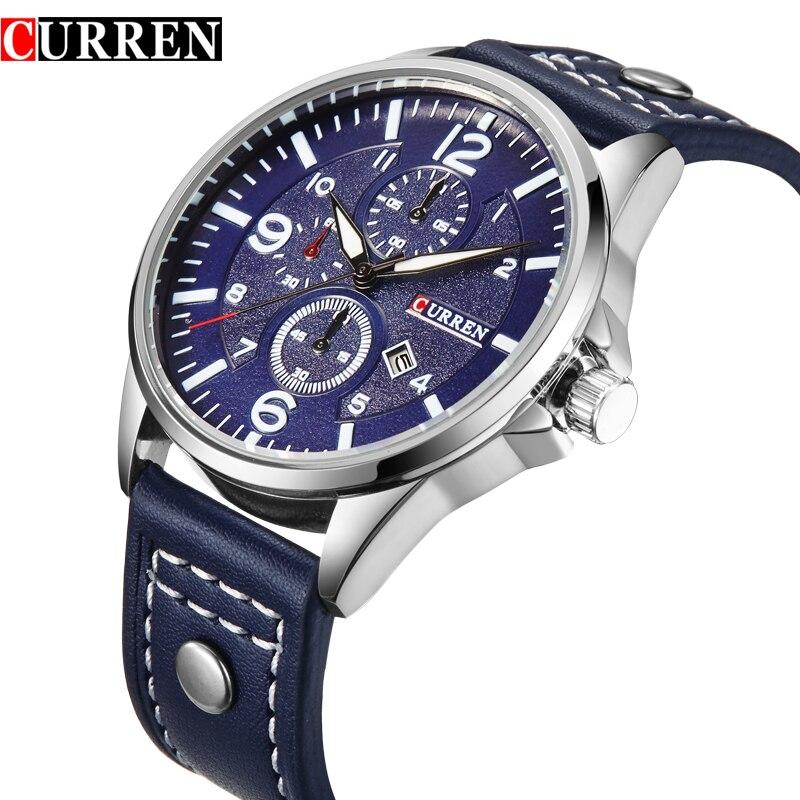 a17d6ede023 Hot moda de nova Curren marca design casual couro genuíno homens relógio  militar esporte exército presente masculino quartz negócios relógio de pulso