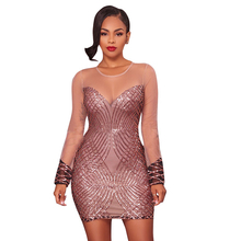Women Dresses Sequin Patchwork Mesh See Through Long Sleeve O-Neck Mini Sexy Club Party Dress WS4587E