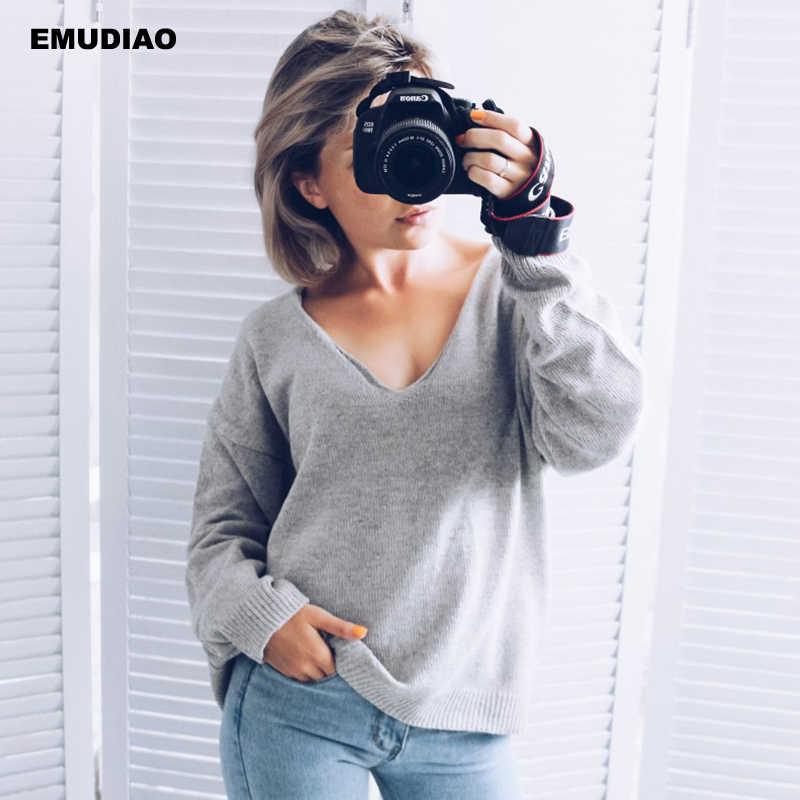Beiläufige Gestrickte Pullover Frauen Streetwear V-ausschnitt Langarm Pullover Lose Feste Mantel 2019 Herbst Winter Mode frauen Pullover