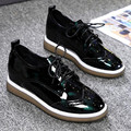 2017 New Arrive fashion Red, green, black patent leather lace-up thick bottom Women Shoes Flat with Loafers zapatos mujer