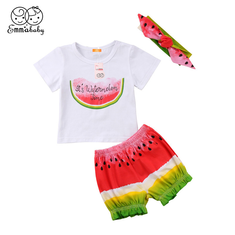 0-3Year's Baby Clothing Set 2018 Summer Newborn Baby Girl Short Sleeve Watermelon Printed Tops T-shirt+Shorts Pants 3pcs Outfits newborn baby boy girl clothes set short sleeve top bodysuits leg warmer bow headband 3pcs clothing outfits set